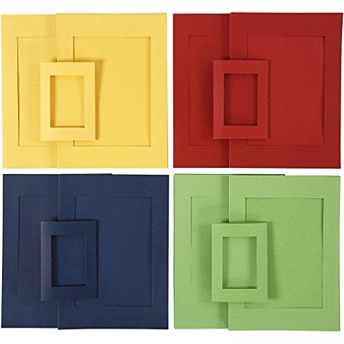 Marcos passepartout, medidas A4+A6, tallar: 6,5x12,5+16x21 cm, azul, verde, amarillo, rojo, 120surtido