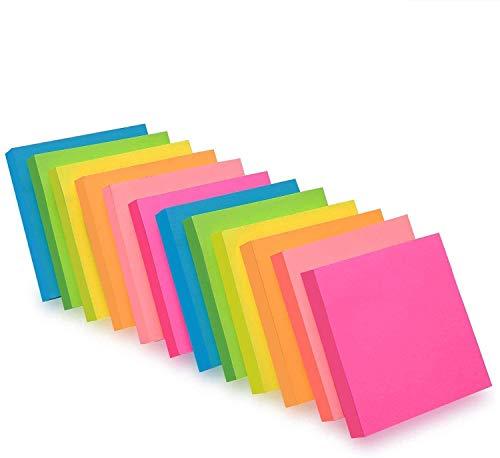 ZCZN Notas Adhesivas,Pack de 24 Bloc de notas,76 x 76 mm,100 Hojas por Bloc,Total de 2400 PCS,6 Colores