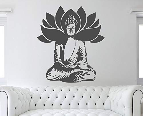 yiyitop Hohe Qualität Buddha Gottheit Silhouette Wandtattoo Lotus Pose Muster Zen Lotus Blumen Abnehmbare Haushaltswaren Wandaufkleber DIYS 75 * 64 cm