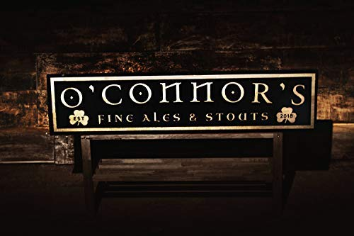 Monsety Lustiges Holzschild personalisierbar Irish Pub Schild mit Ihrem Nachnamen Irish Pub Dekor Vintage Bar Schild Custom Bar Schilder Tavern Schild Fine Ales and Spirits Wandkunst Plakette