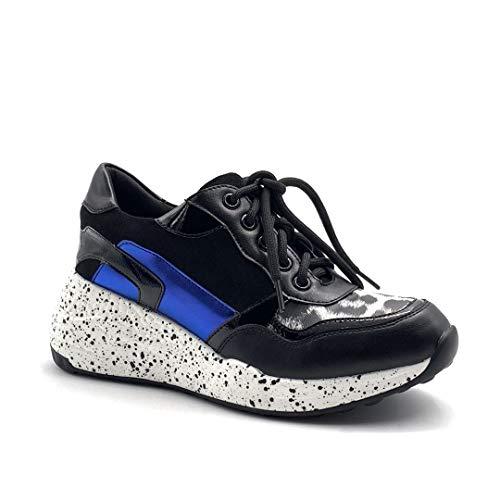 Angkorly - Chaussure Mode Baskets Tennis Streetwear Sportwear Femme chargé tâche de Peinture Effet Peau de Serpent Python Talon compensé Plateforme 6.5 CM - Bleu - HQ106 T 40