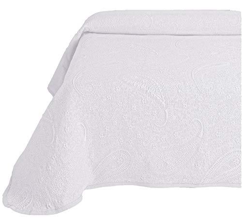 Leiper Colcha Cubrecama Sabri de Jacquard Cashmere en Color Blanco, Gris o Beige (Todas Las Medidas). (Blanco, 180x260 (Cama 90))