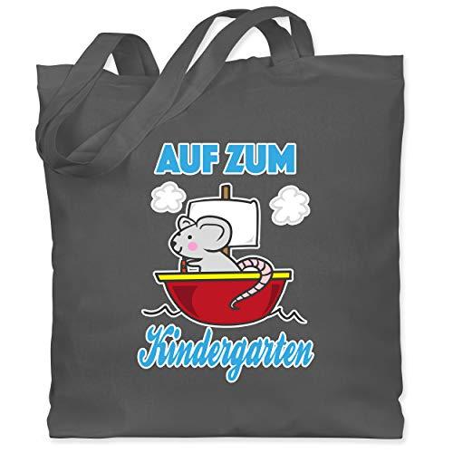 Shirtracer Kindergarten Geschenk Outfit - Auf zum Kindergarten Ratte mit Schiff - Unisize - Dunkelgrau - WM101 - WM101 - Stoffbeutel aus Baumwolle Jutebeutel lange Henkel