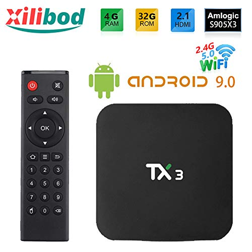 Xilibod Android 9.0 TV Box 4GB RAM/32GB ROM, S905X3 64-bit Quad core ARM, G31™ MP2 GPU Processor,H.265 Decoding 2.4G/5G dual-Band WiFi Smart TV Box - Model No.: TX3 4GB 32GB