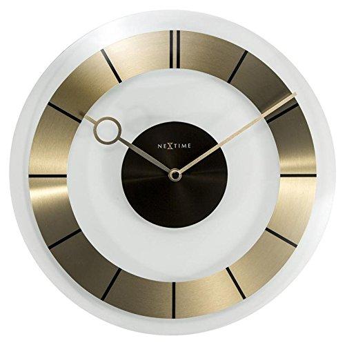 NeXtime Wanduhr Retro lautlos, rund, Glas + Metall, Gold, ø 31 cm