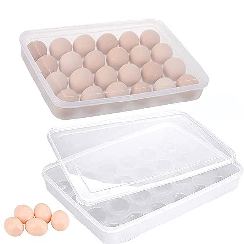 2 Piezas Caja Envase para Huevos, Cartón de Huevos Plástico, para la Nevera Caja con Tapa Huevera Plástico, Puede Contener 24