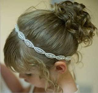 Locisne Crystal Diamond Flower Girl Hair Vine Headband Silver Wedding Hair Head Band Accessories Rhinestone Jewelry Headdress for Wedding Hairstyle Bridal Headpiece Ribbons Hair Jewelry