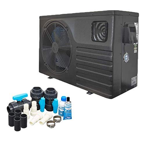 well2wellness Mida.Force 7 - Bomba de calor para piscina con una capacidad de calentamiento de hasta 6,80 kW + kit bypass Basic + cubierta