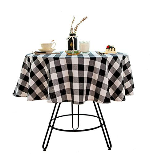 Bettery Home Buffalo Check Christmas Round Tablecloth Cotton Linen Plaid Table Cloth for Christmas Party Wedding Table Decoration (Round - 55 Inch, White & Black)