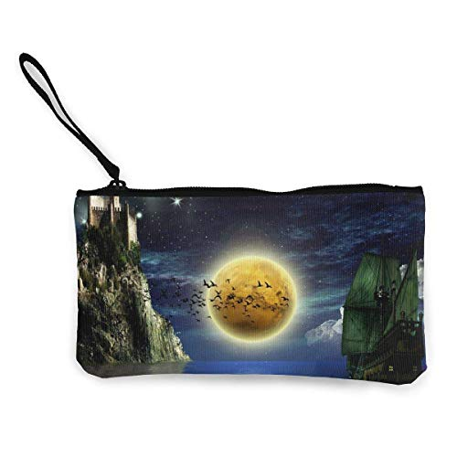 Yuanmeiju Unisex Castle of Stars Zipper Canvas Coin Purse Wallet, Make Up Bag