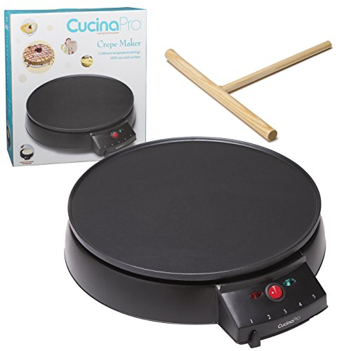 "Crepe Maker and Non-Stick 12"" Griddle- Electric Crepe Pan with"