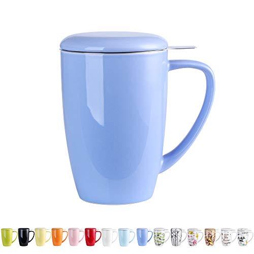 LOVECASA Tazza da tè con Infusore Acciaio Inox in Ceramica Porcellana, Filtri e Colini da tè, Filtro Infusori per tè, Set da tè caffè Mugs per Una Persona, 450ml, Blu