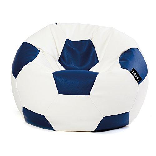 MiPuf - Puff Futbol Original - 120cm diámetro - Tejido Polipiel Alta Resistencia - Doble Cremallera - Relleno Incluido - Azul Marino y Blanco - 4 años de Garantía