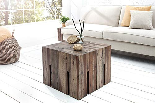 *Eckiger Beistelltisch Treibholz 30x45x30cm Unikat Holzblock Couchtisch Hocker Ablage ROLIA*