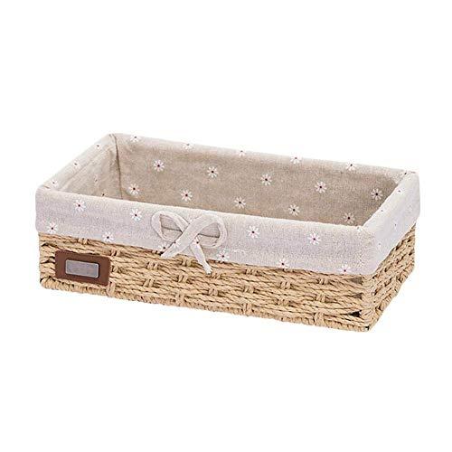 BOENXUA Cesta de almacenamiento de mimbre Caja de almacenamiento apilable Cesta de almacenamiento tejida Caja organizadora cestas de regalo para almacenar huevos frutas llaves