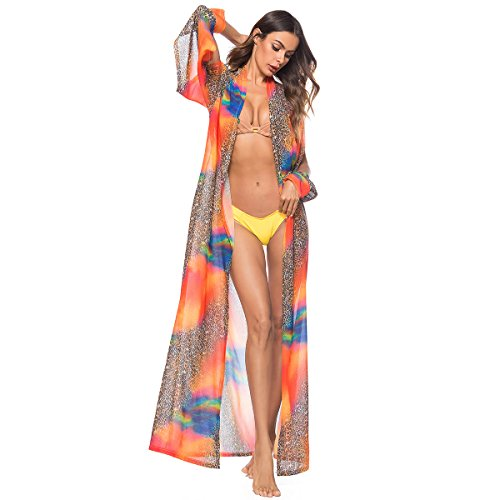 YYH Dames Cardigan Strand Chiffon Bikini Cover Up Floral zomerjurk Langer Cardigan Kimono M Oranje.