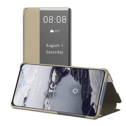 WeiHülle Leder Tasche Handyhülle für Samsung Galaxy M51S, Flip Ledertasche Hülle mit Stand, Clear View Sichtfenster Sleep Wake up Schutzhülle für Samsung Galaxy M51S