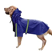 (Enerhu)ペットレインコート 犬 レインコート ポンチョ 柴犬 中型犬 ライフジャケット 防水 軽量 反射テープ付き 小型犬 大型犬 雨具 お散歩 ブルー XL