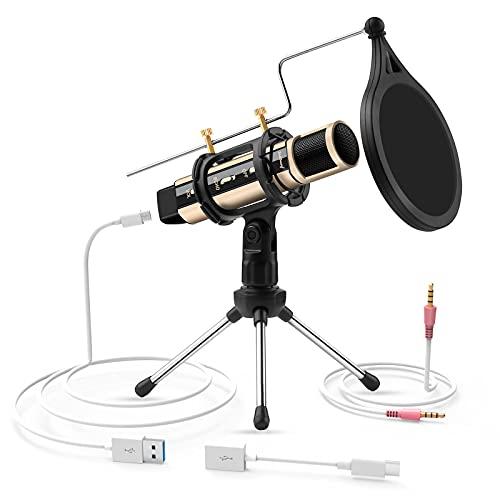 ZealSound USB Kondensator Mikrofon, Aufnahmemikrofon-Kit, Plug & Play Desktop-Mikrofon mit USB und 3,5-mm-Anschluss Ideal für Smartphones, Laptops, Mac/PC, Karaoke-Apps, Podcast, Vocals, Spiele usw