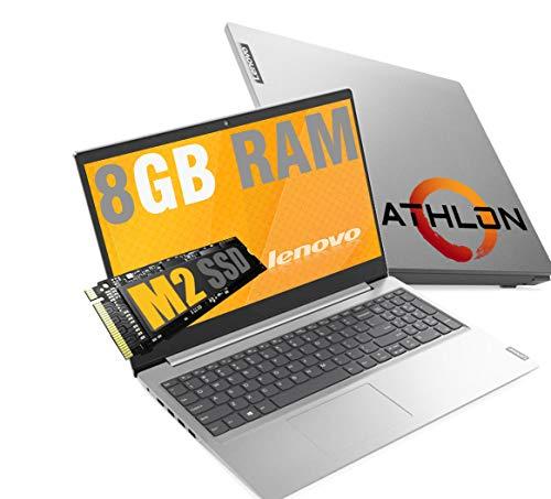 Notebook Lenovo Silver ideapad 3 Display Hd Led da 15,6  Ram 8 Gb DDR4 SSD M.2 PCi da 256Gb cpu Amd Athlon fino a 2,6 Ghz  web cam 3usb hdmi bt Windows 10 Pro   Open Office  Pronto All uso