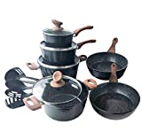 Induction Kitchen Cookware Sets Nonstick - Granite Hammered Pan Set 15 Piece, Dishwasher Safe Cooking Pots and Pans Set