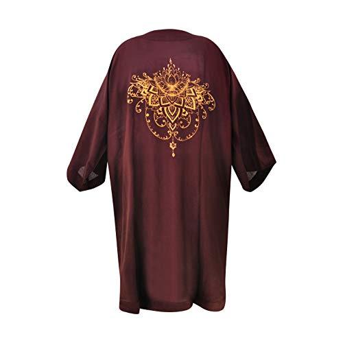 virblatt – Kimono schwarz Morgenmantel Japanischer Cardigan Damen Boho Sommerkleid Strandtunika Blütezeit