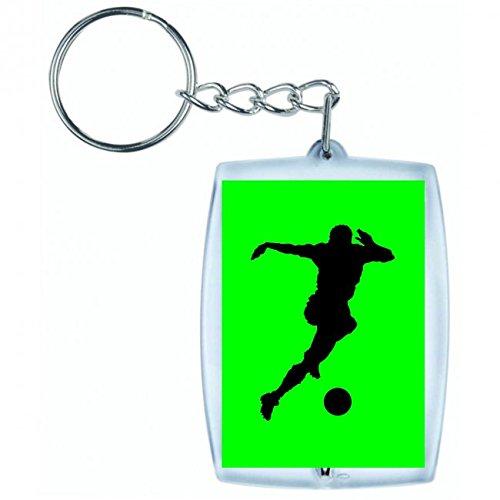 Druckerlebnis24 Schlüsselanhänger FUßBALL- Spielen- Laufen- SCHIEßEN- MIT DEM Ziel- Kugel- Silhouette- SCHWARZ in Grün | Keyring - Taschenanhänger - Rucksackanhänger - Schlüsselring