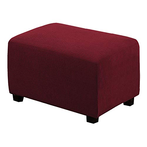 Stretch Ottoman Slipcovers Footstool Footrest Covers Removable Footstool Covers 1 Piece Form Fit Storage Ottoman Protect Covers for Living Room, Ottoman Large Size, Burgundy