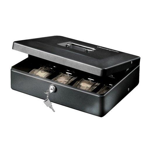 SentrySafe Cash Box, Deluxe Locking Cash Box With Money Tray, Medium, DCB-12