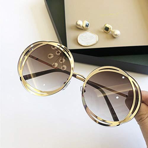 Moda Gafas De Sol Mujeres Extranjero Flower Shades Lujo Famosa De Diseño Gradiente Gafas De Sol Señoras Cara Delgada Rosa Eyewear UV400 (Lenses Color : Gold Tea)