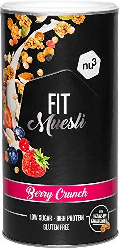 nu3 Fit Protein Müsli Berry Crunch - 450 g Proteinmüsli aus süßen Beeren, Mandeln, Guarana & Matcha als natürlicher Wachmacher - 33% Eiweiß mit nur 4% Zucker - Ideal für Sportler - vegan & glutenfrei