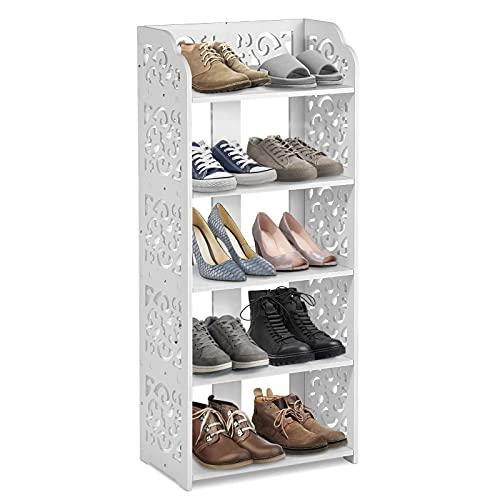 Greensen Zapatero Blanco, Estante para Zapatos para Zapatos Organizador Zapatos para Entrada Pasillo, Estante para Baño con 5 Estantes, Estante de Almacenamiento para Guardar Libros 70x26x55cm
