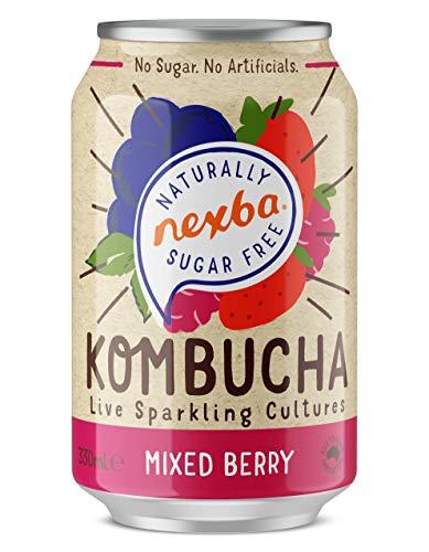 Nexba Naturally Sugar Free Mixed Berry Kombucha, 12 x 330 ml Can