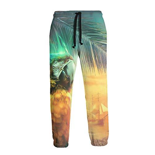 GAHAHA Pantalones deportivos para hombre, loros junto al mar, pantalones deportivos novedad con bolsillos, unisex, para el hogar