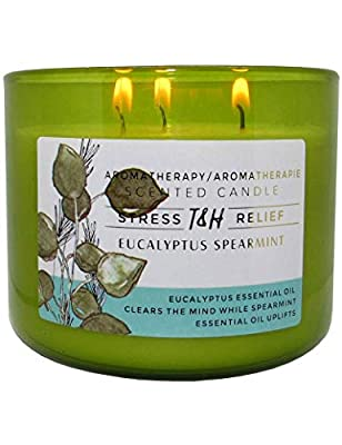Stress Relief Aromatherapy Candles Eucalyptus Spearmint Scented Candle   16 Oz Soy Candles for Home   Decorative Candles Long Lasting 3 Wick Candle by T&H Wholesalers