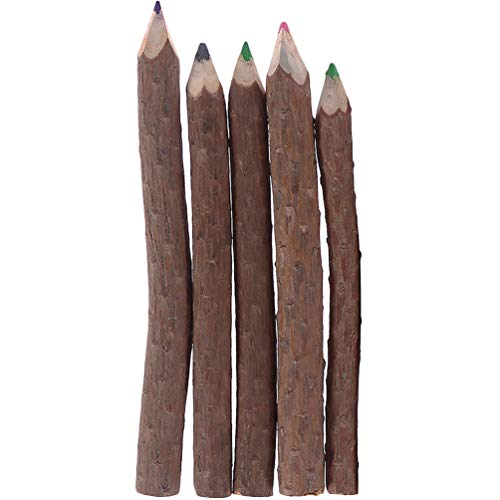 NUOBESTY 5pcs Twig Colored Wooden Pencils Outdoor Tree Camping Decorative Child Pencils Students Wood Favors Pencil