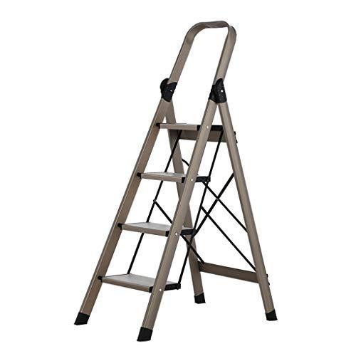 LRZLZY 3-Step / 4-Stufenleiter, zusammenklappbare tragbare Stehleitern, Hochleistungsaluminiumtrittschemel, Küche Mehrzweck Schritt mit Anti-Rutsch-Matte, Platz for bis zu 150 kg (Size : 4-Step)
