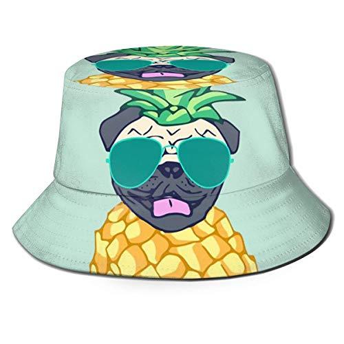 Caps Case Pug PineApp-le con Gafas de Sol Sombrero de Pescador Algodón Adultos Sombrero de Cubo Pesca de Verano Fisher Beach Festival Gorra para el Sol