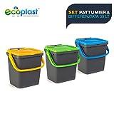 Ecoplast ECP35-Set 3 Pattumiere Chiuse EcoPlus per Raccolta...