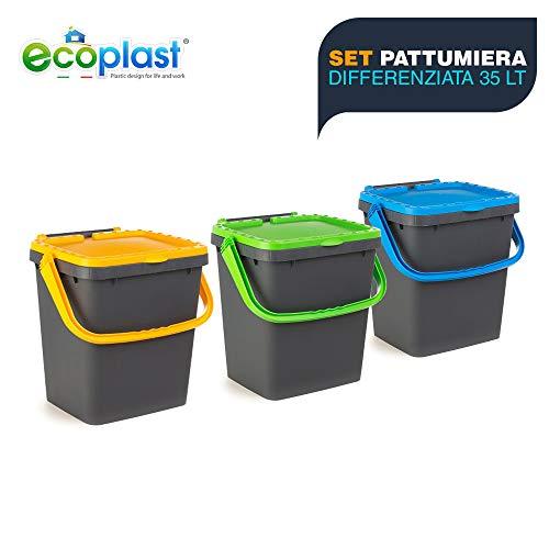 Ecoplast ECP35-Set de 3 Cubos de Basura Cerrados EcoPlus para Recogida diferenciada ecológica, 35 litros, Multicolor, 43 x 36 x 43,5 cm