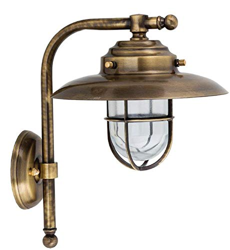 *Wandlampe KAVALA Messing Glas IP43 Maritim wetterfeste Außenlampe Laterne Haus Haustür Hof Terrasse*