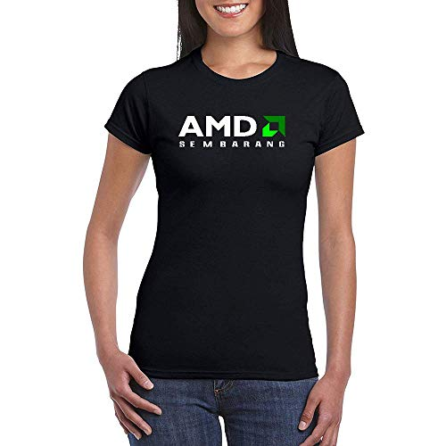 Mujer AMD Logo Black Short Sleeve Camiseta T-Shirt tee Small