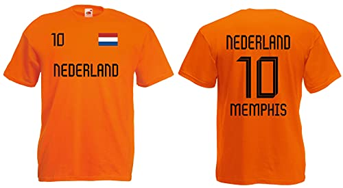 Holland-Nederland Memphis Herren T-Shirt EM 2020 Trikot Look Style Shirt 10 Orange S