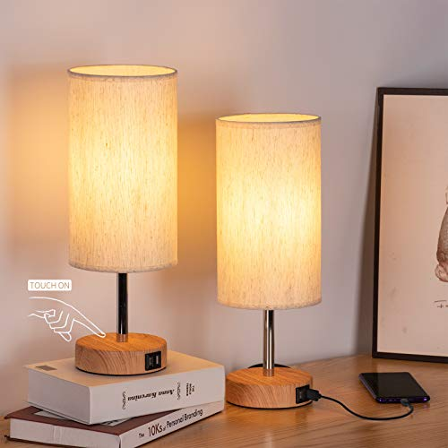 Bedside Lamps with USB Port - Touch Control Table Lamp for Bedroom Wood 3 Way Dimmable Nightstand Lamp Set of 2 with Round Flaxen Fabric Shade for Living Room, Kids Room, College Dorm, Office (2 Pack)