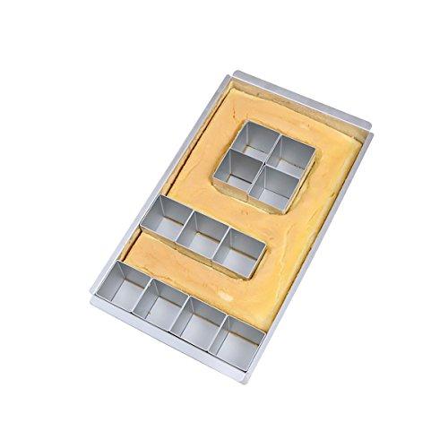 Moule à gâteau en aluminium antiadhésif réglable, avec chiffre et lettre de l'alphabet, facile à utiliser, sûr, argenté