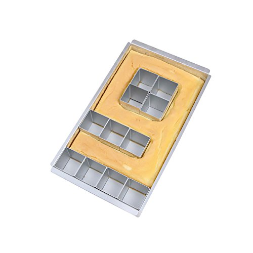 Baker Boutique Molde de Aluminio Antiadherente para Tartas, Molde para Tartas, Alfabeto con diagramas de Letras y números, fácil de Usar, Color Plateado
