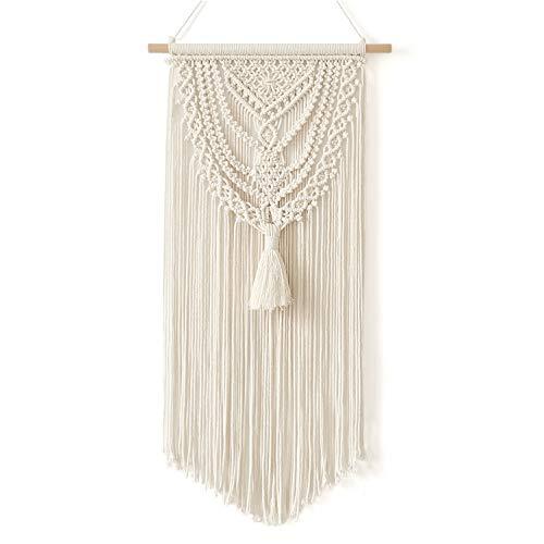 BONTHEE Makramee Wandbehang Gewebte Tapisserie Wohnkultur Handgefertigte Baumwolle Boho Raumdekoration – Beige