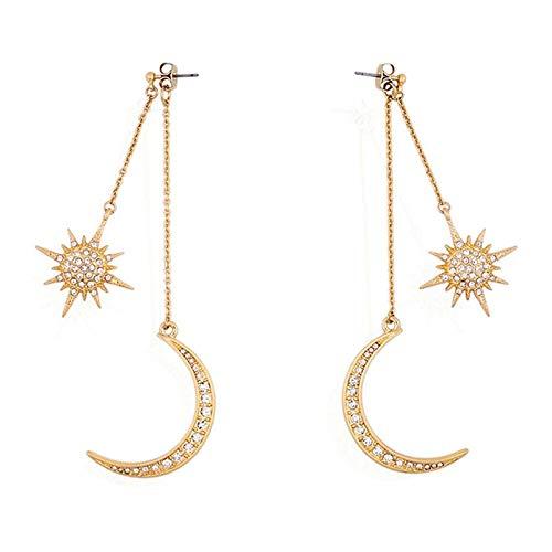 YANGYUAN Gancho Colgante de los Pendientes de Las señoras de la aleación del Diamante Pendientes de Larga Estrellas de la Luna Colgante de Oro de los Pendientes 1 par