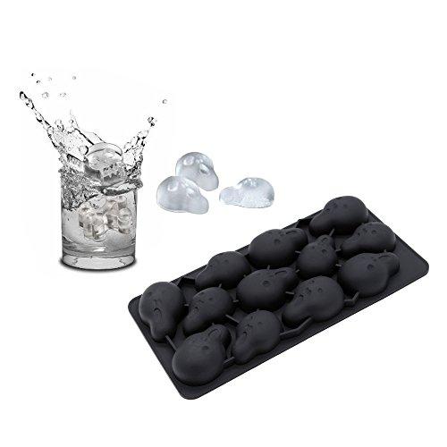 MKQPOWER Stampo in Silicone per ghiaccio a forma di teschio, ideale per cioccolato, giapponese, Whiskey, Cocktail e bevande per le feste, bar, caffè, ristoranti
