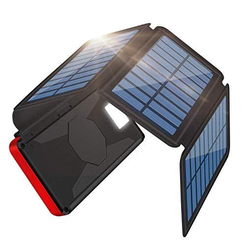 ソーラーチャージャー モバイルバッテリー 26800mAh 大容量 折り畳み式 ソーラーパネル 2USB出力ポート 4枚ソーラーパネル 急速充電 高輝度LEDライト付き 太陽光充電 Android/iPhone/iPad など等に対応 登山/地震/災害/旅行/出張/アウトドア活動などの必携品 (ブラック)